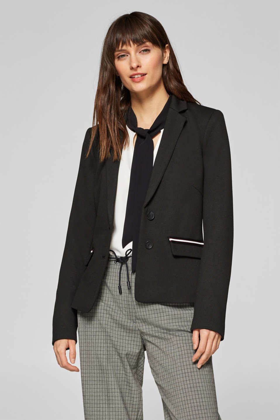 Esprit - Stretch jersey blazer with sporty woven tapes