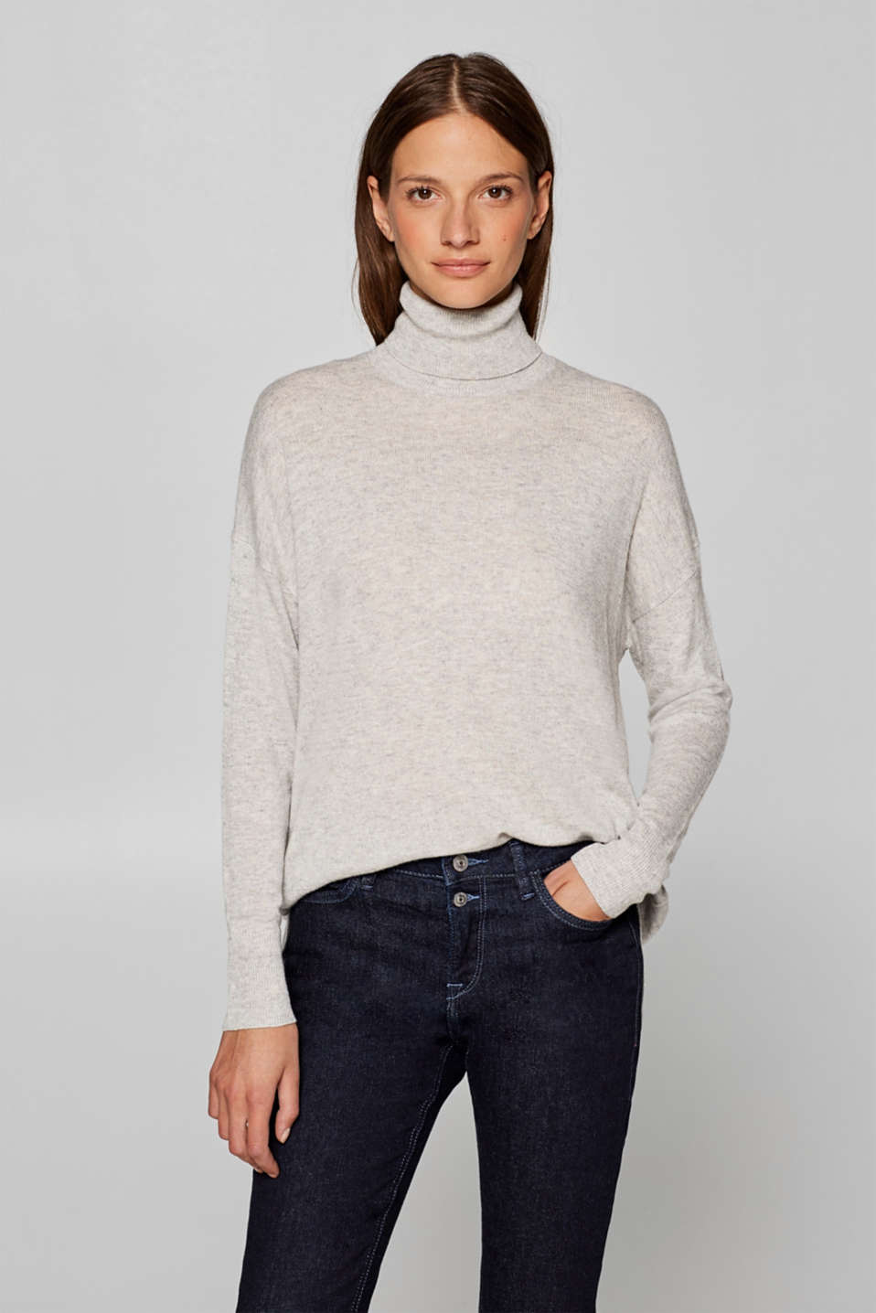 Esprit - Containing cashmere: oversized polo neck sweater