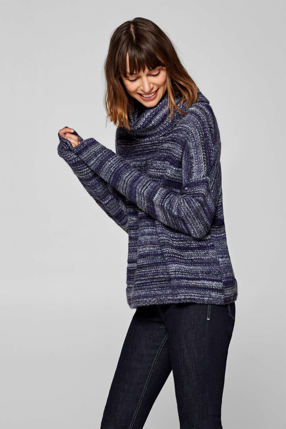 Esprit - Wool blend: polo neck jumper with relief stripes