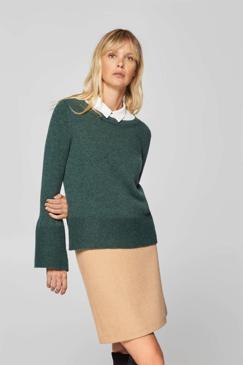 Esprit - With wool: jumper with ribbed details