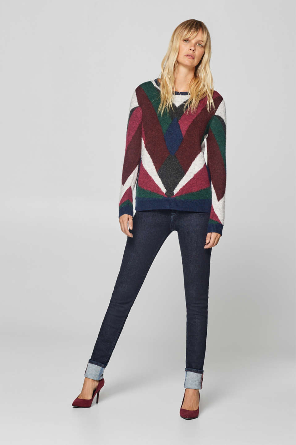 Esprit - With wool: compact colour block jumper