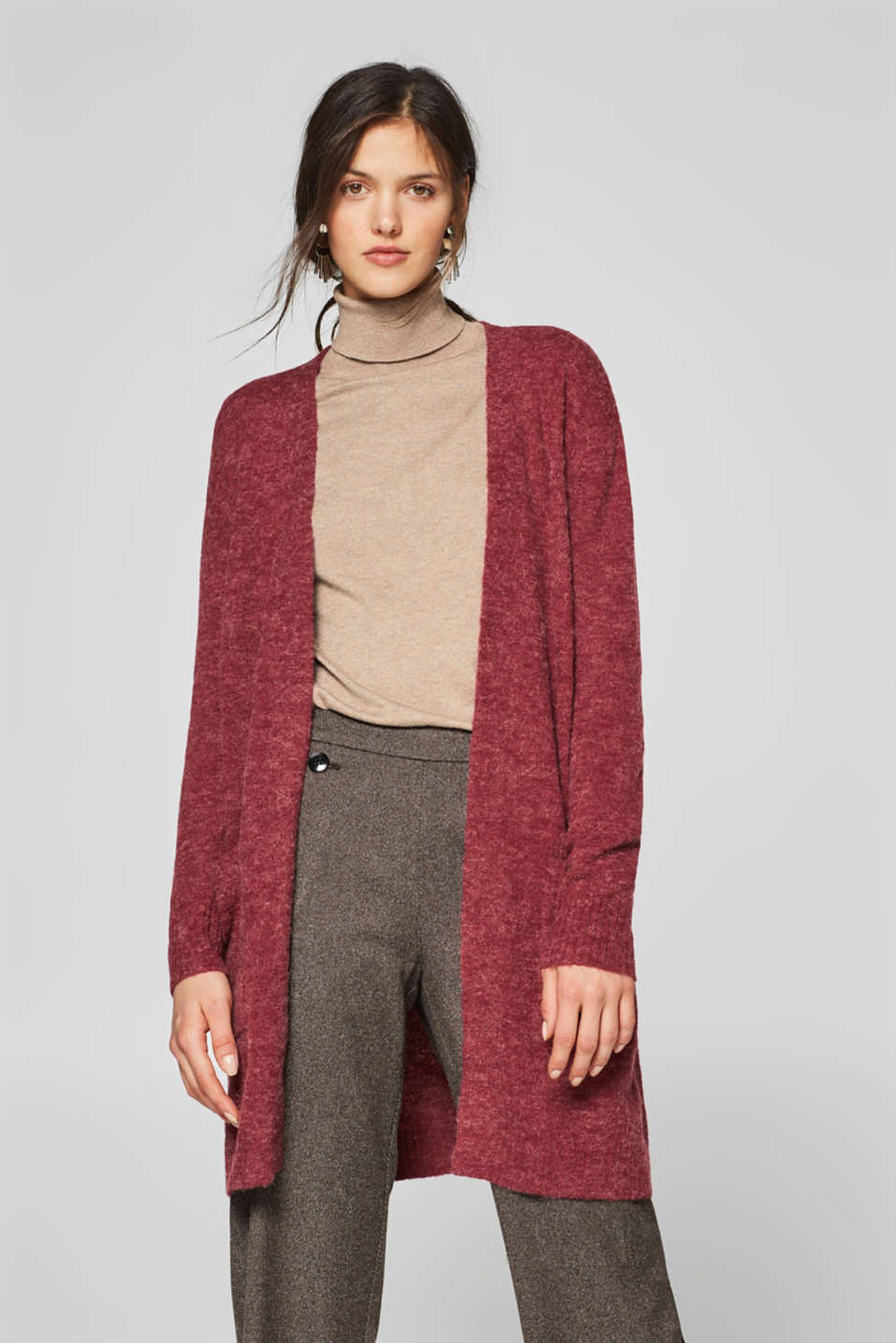 Esprit - With wool: open cardigan with alpaca