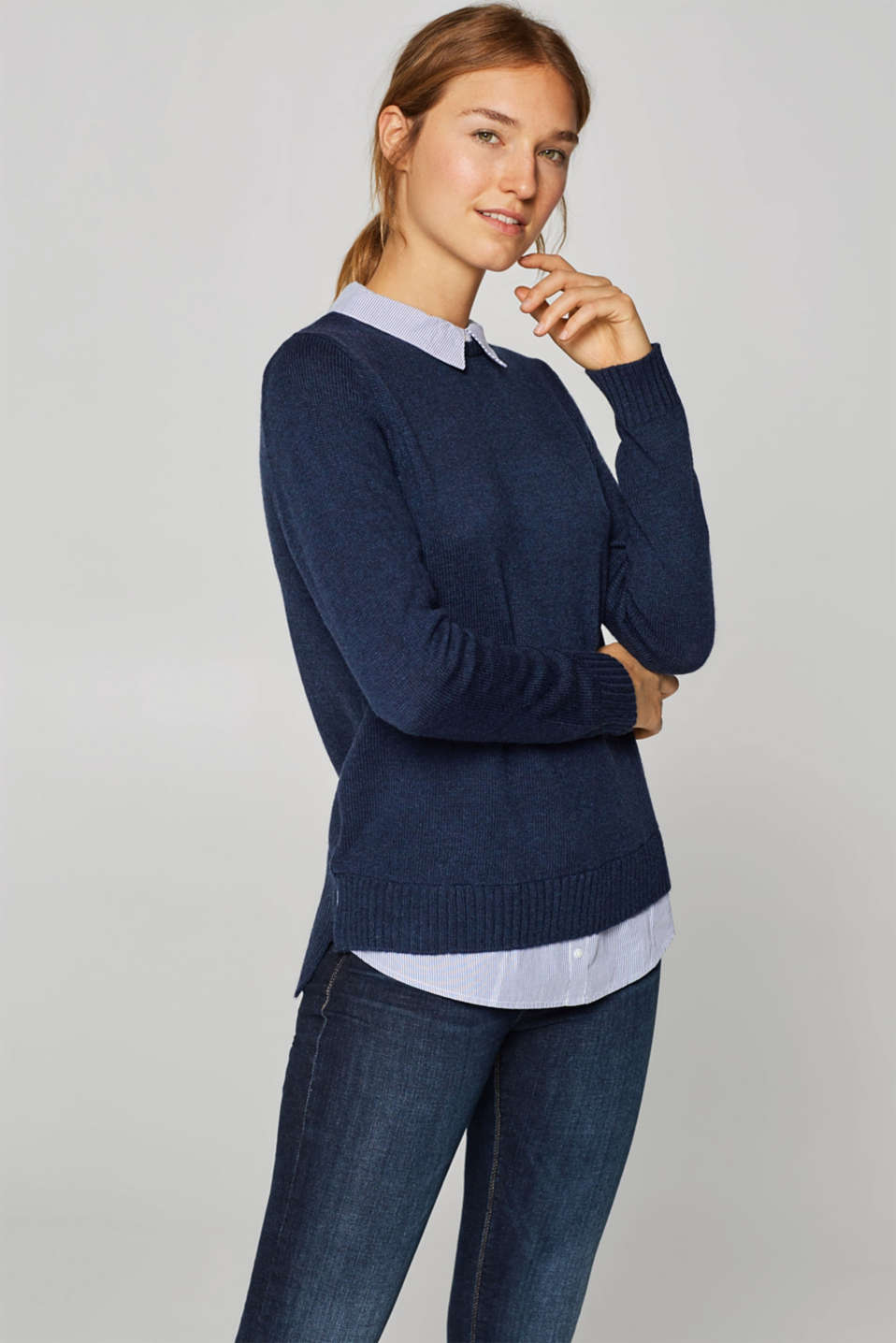 Esprit - Jumper in a layered style, with wool
