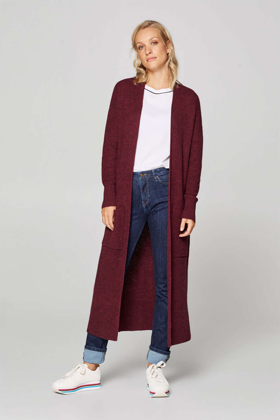 Esprit - Wool blend: knit coat with a ribbed texture
