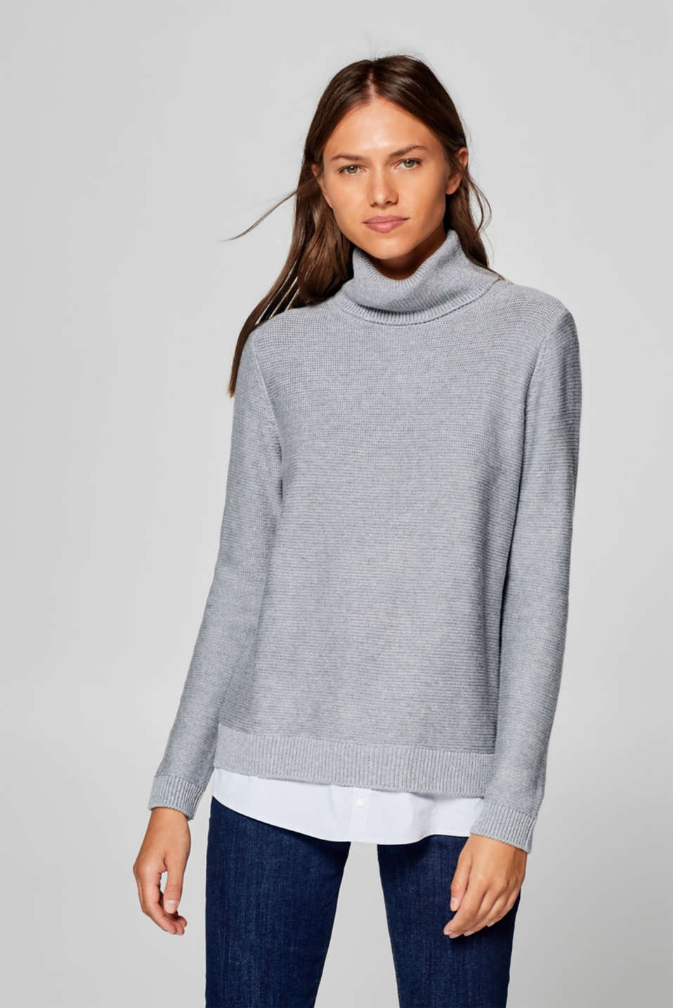 Esprit - Polo neck jumper with a fabric hem
