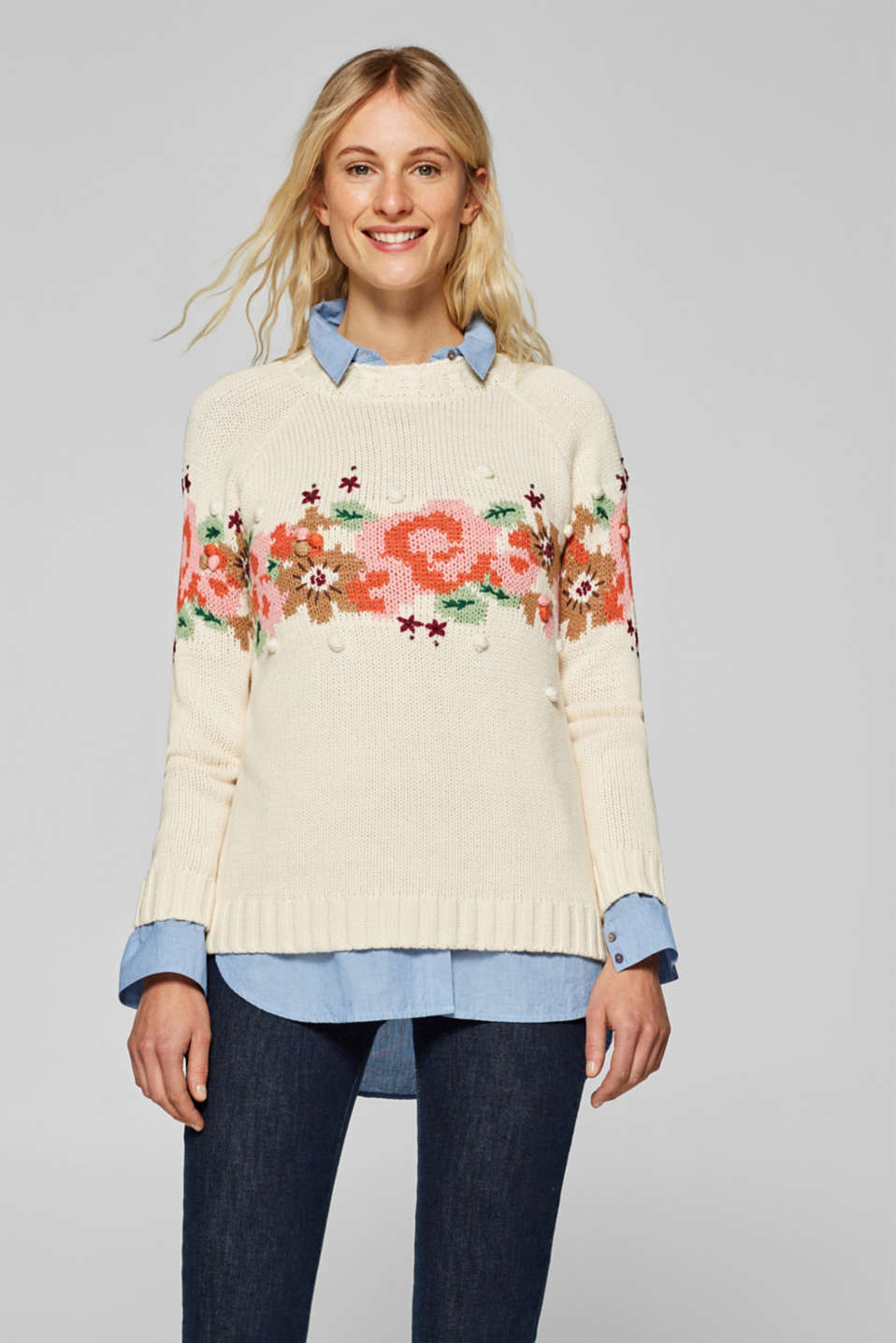 Esprit - Chunky-knit jumper with intarsia and bobbles