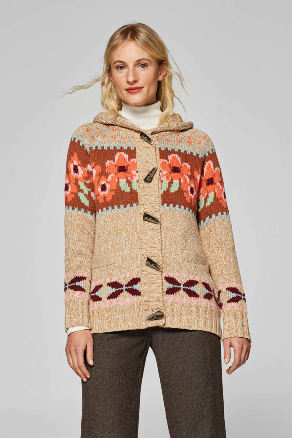 Esprit - Chunky-knit cardigan with colourful intarsia