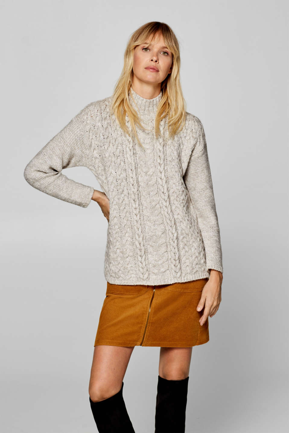 Esprit - Containing wool/alpaca: Jumper with a cable pattern