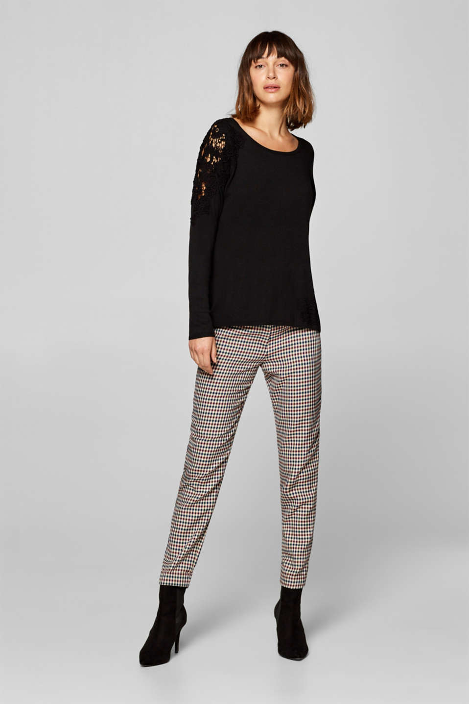 Esprit - Fine knit jumper with lace inserts