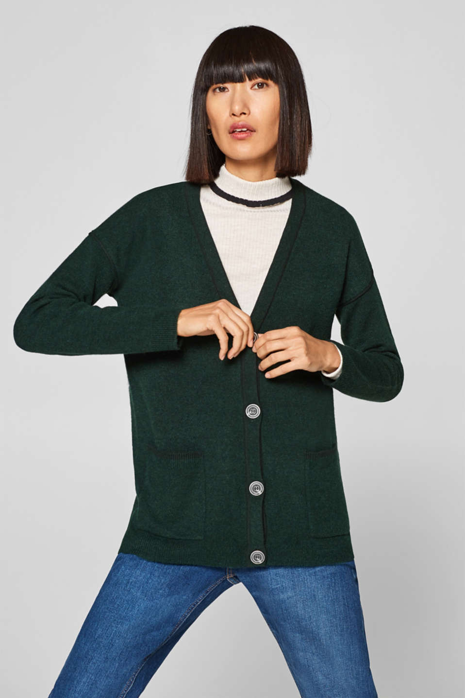 Esprit - Wool blend: fluffy cardigan with a hint of stretch for added comfort
