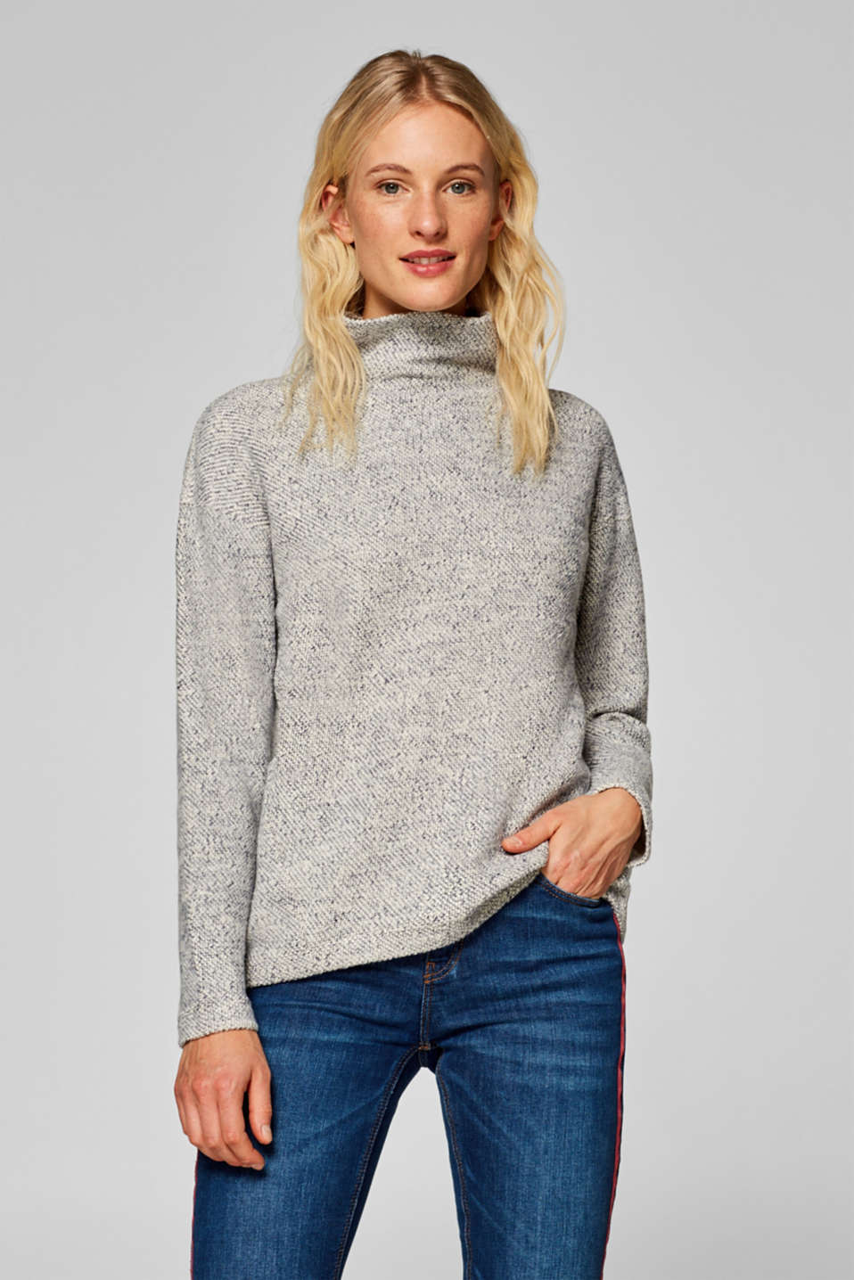 Esprit - Textured sweatshirt with a stand-up collar