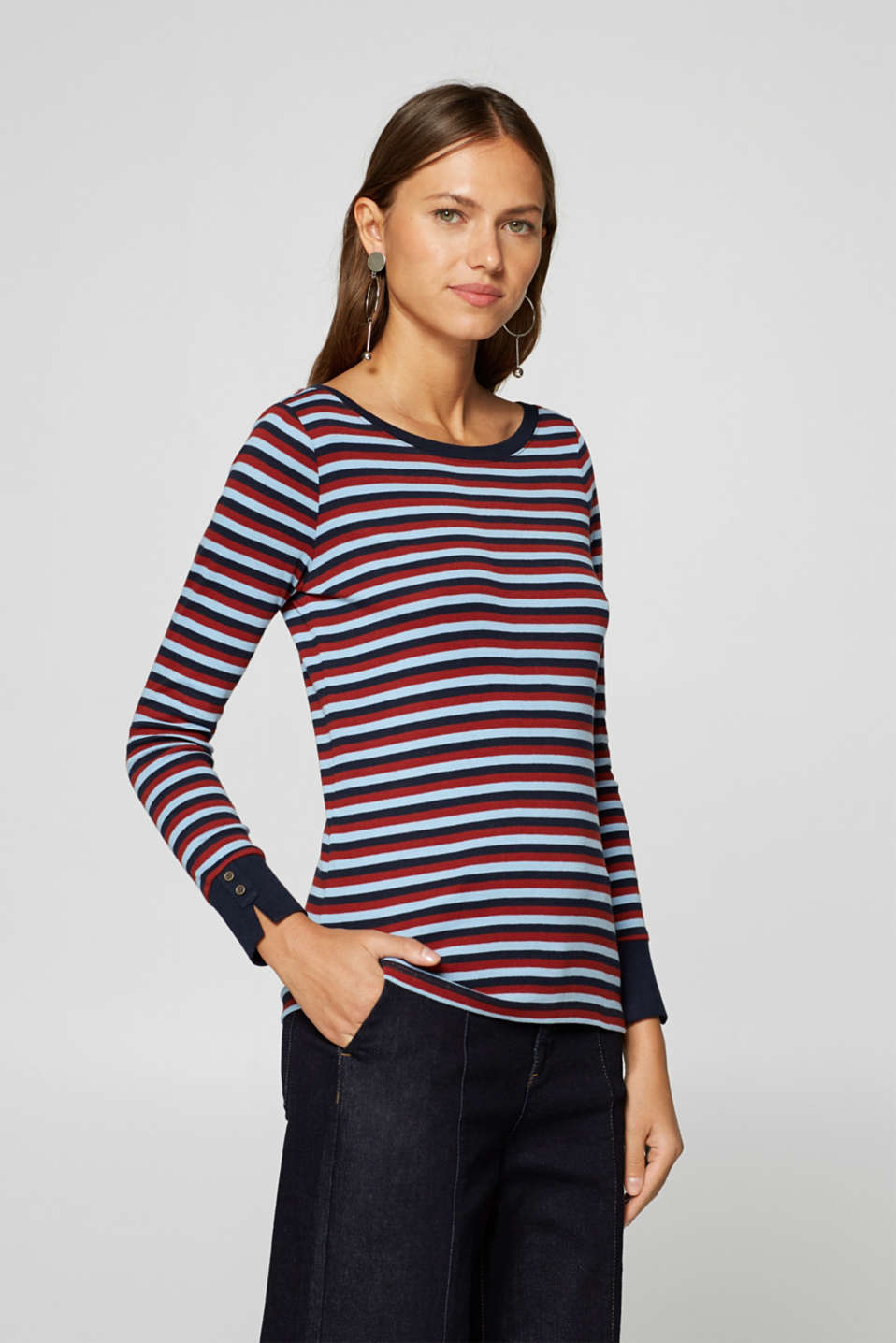 Esprit - Finely ribbed, long sleeve top, 100% cotton