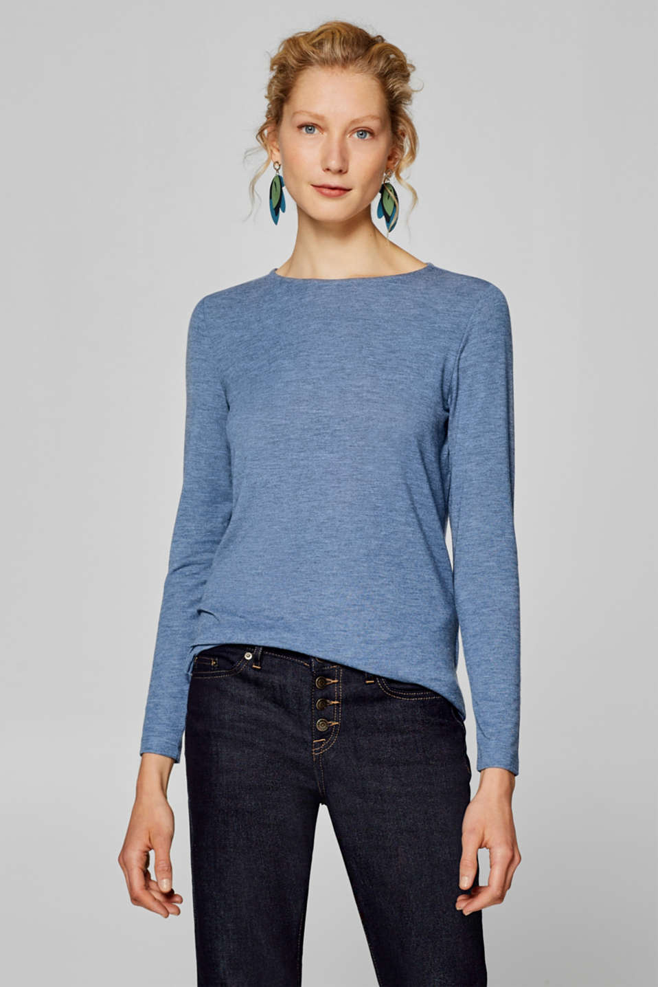 Esprit - Long sleeve top with elbow patches