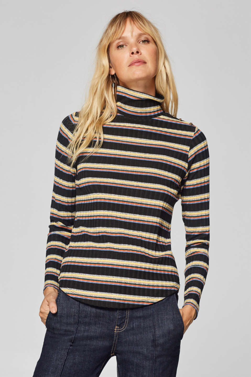 Esprit - Stretch long sleeve top with a stand-up collar