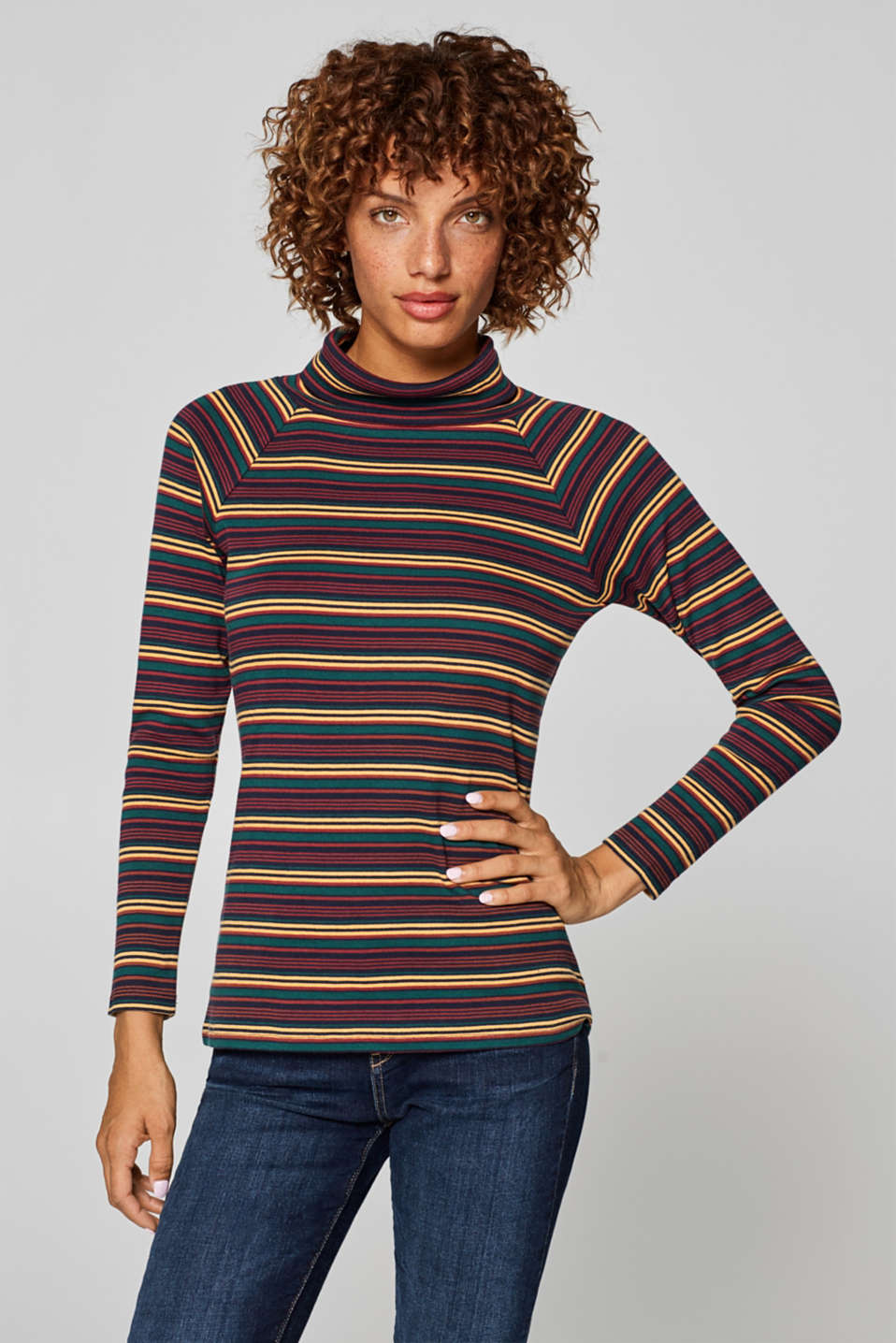 Esprit - Striped polo neck top, 100% cotton