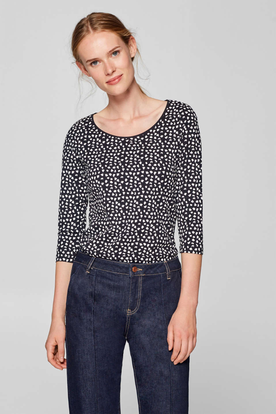 Esprit - Jersey top with a print and 3/4-length sleeves