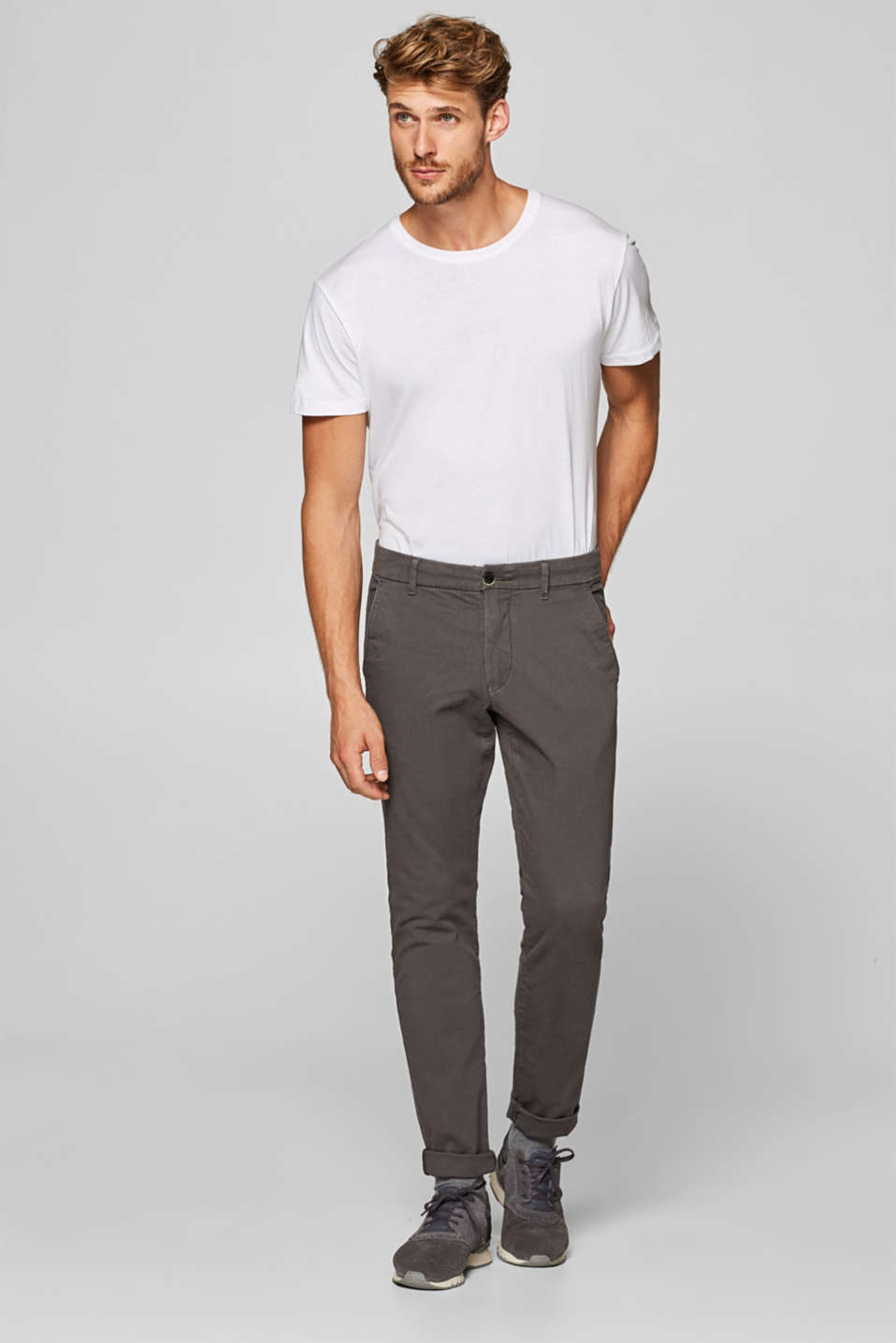 Esprit - Textured stretch trousers