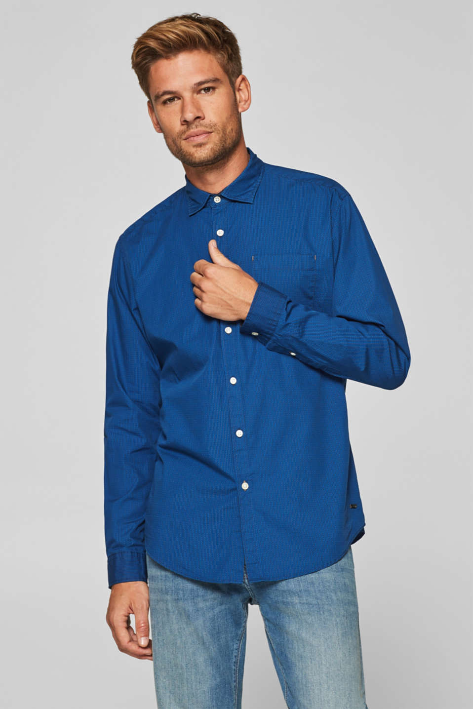 Esprit - Shirt with an all-over print, 100% cotton