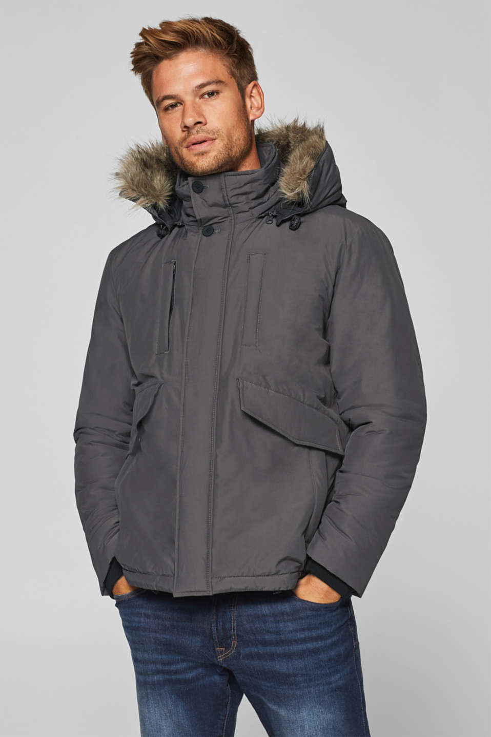 Esprit - Short parka with a woven faux fur-trimmed hood