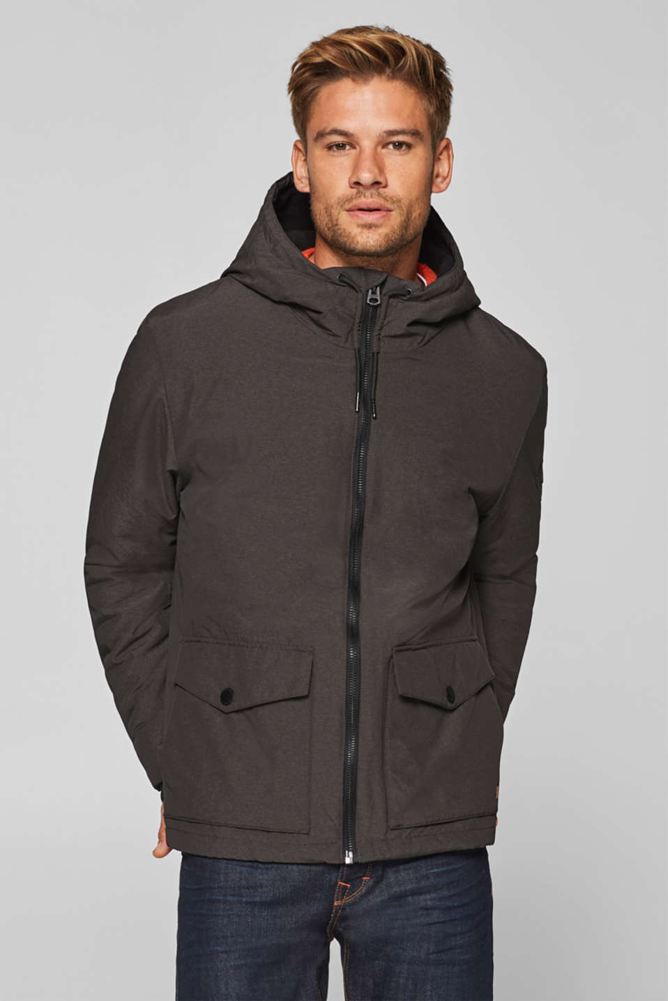 Esprit - Jacket with a fleece-lined hood