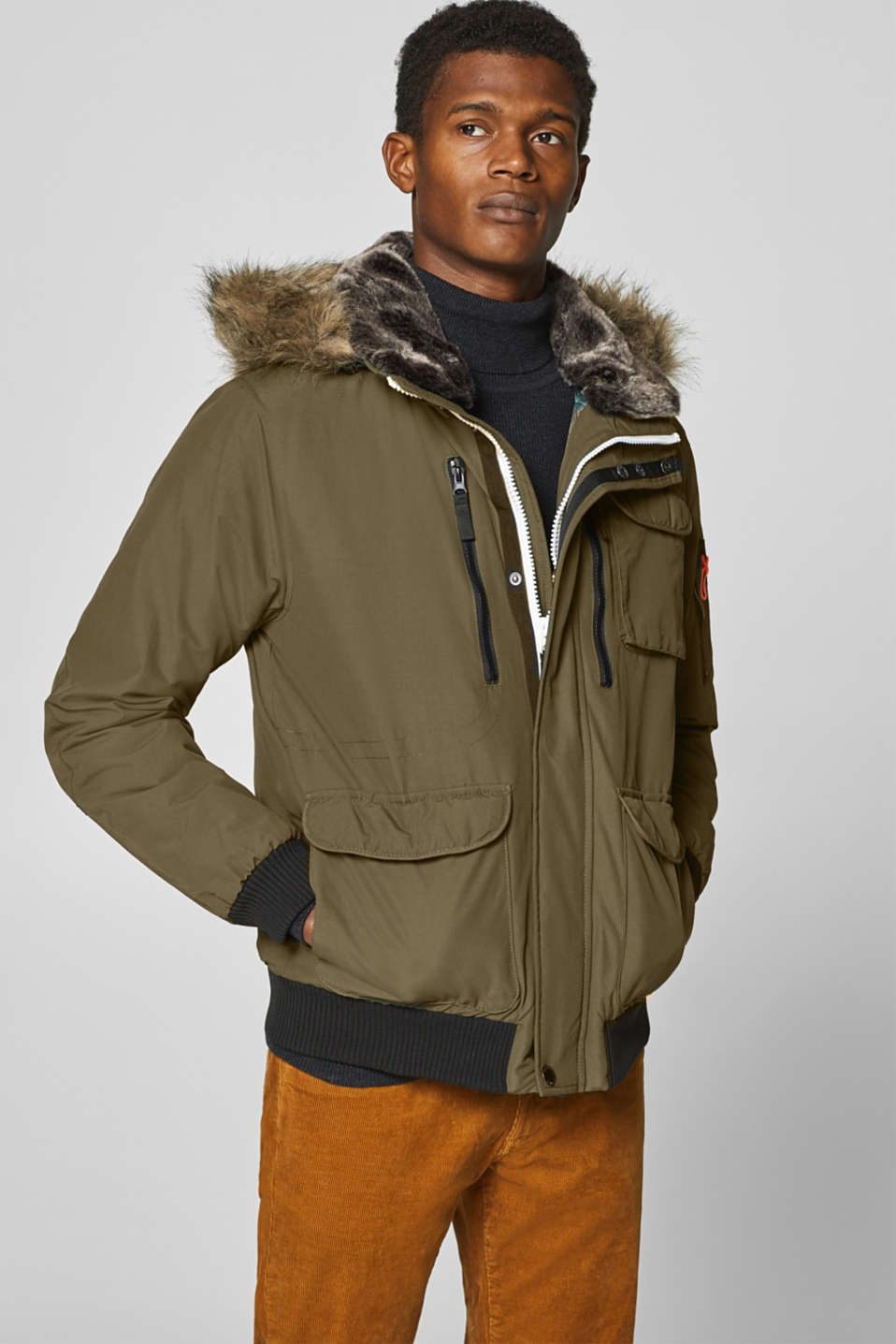 Esprit - Winter jacket with a faux fur trim