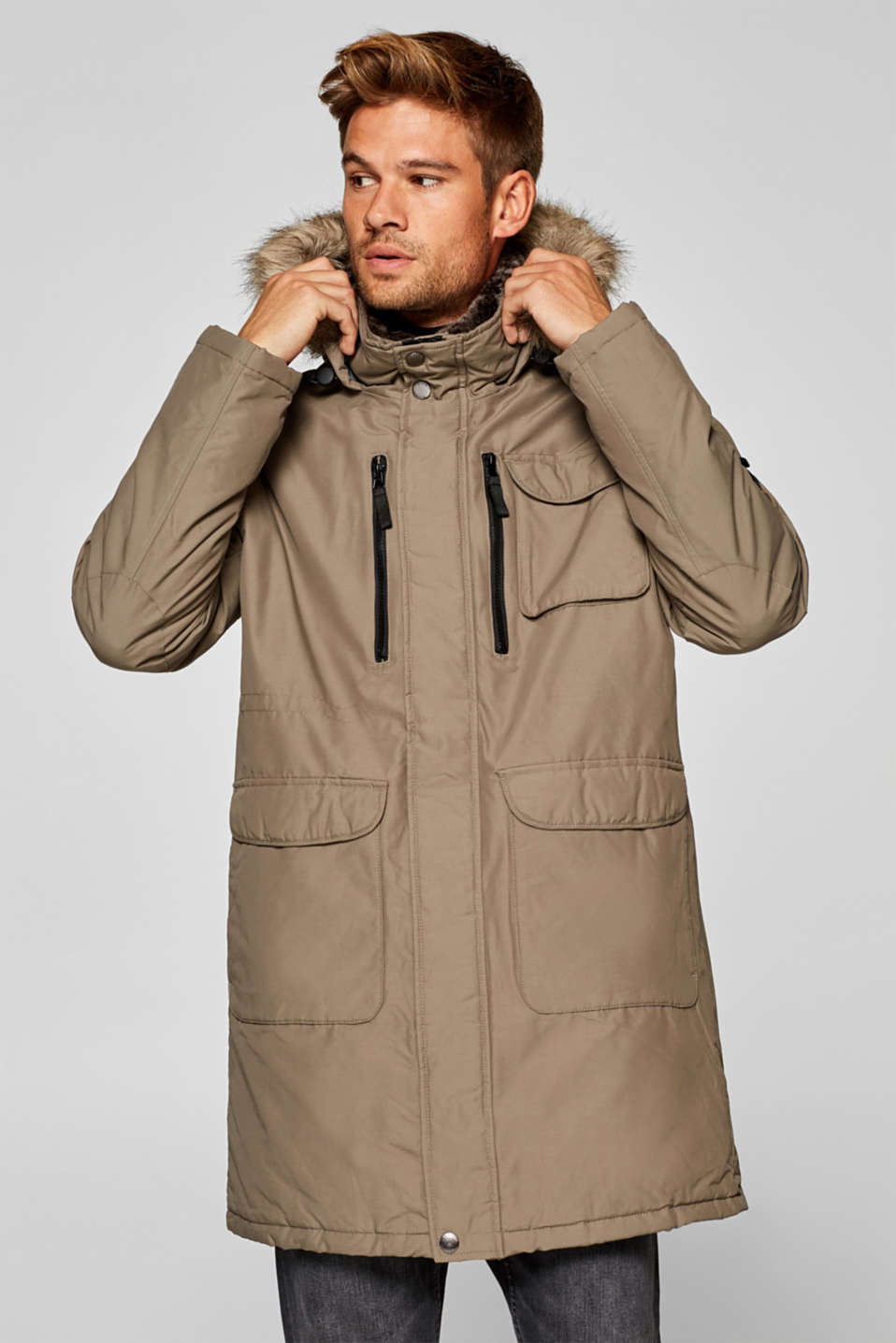 Esprit - Parka with fake fur hood