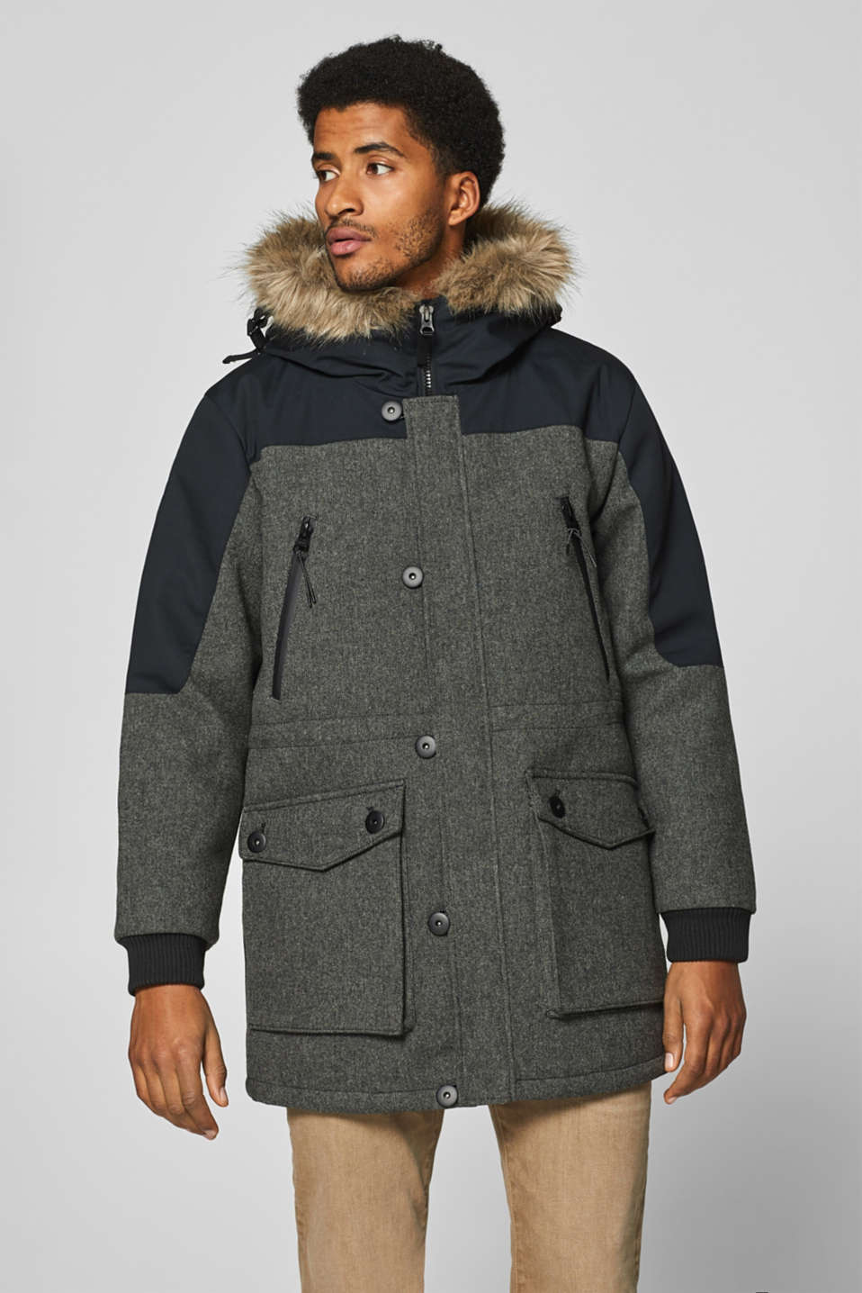 Esprit - Wool blend: parka with a faux fur hood