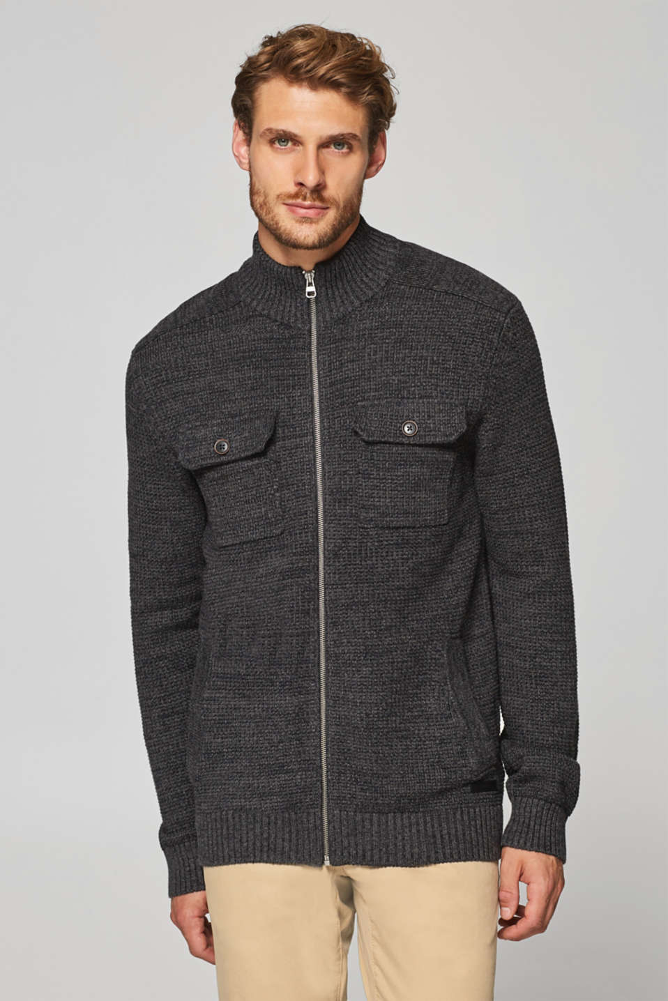 Esprit - 100% cotton cardigan with a breast pocket