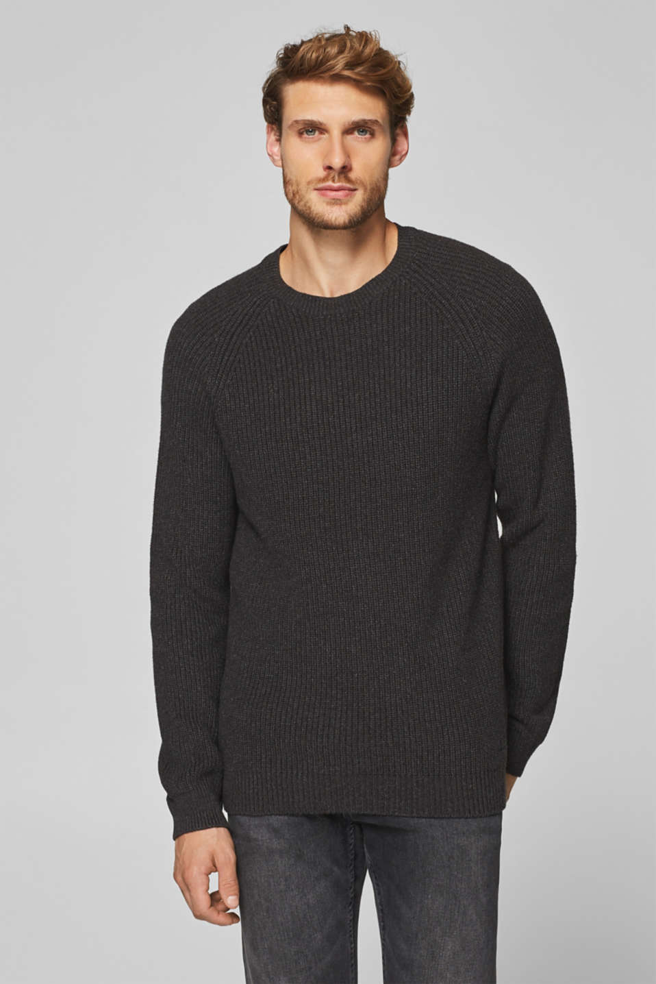 Esprit - Jumper with a ribbed pattern, 100% cotton