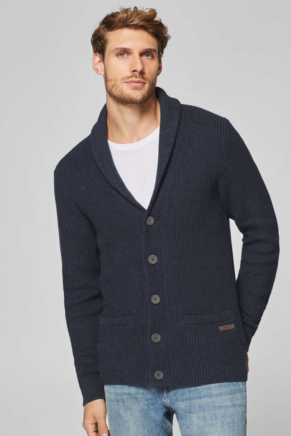 Esprit - Rib knit cardigan in 100% cotton
