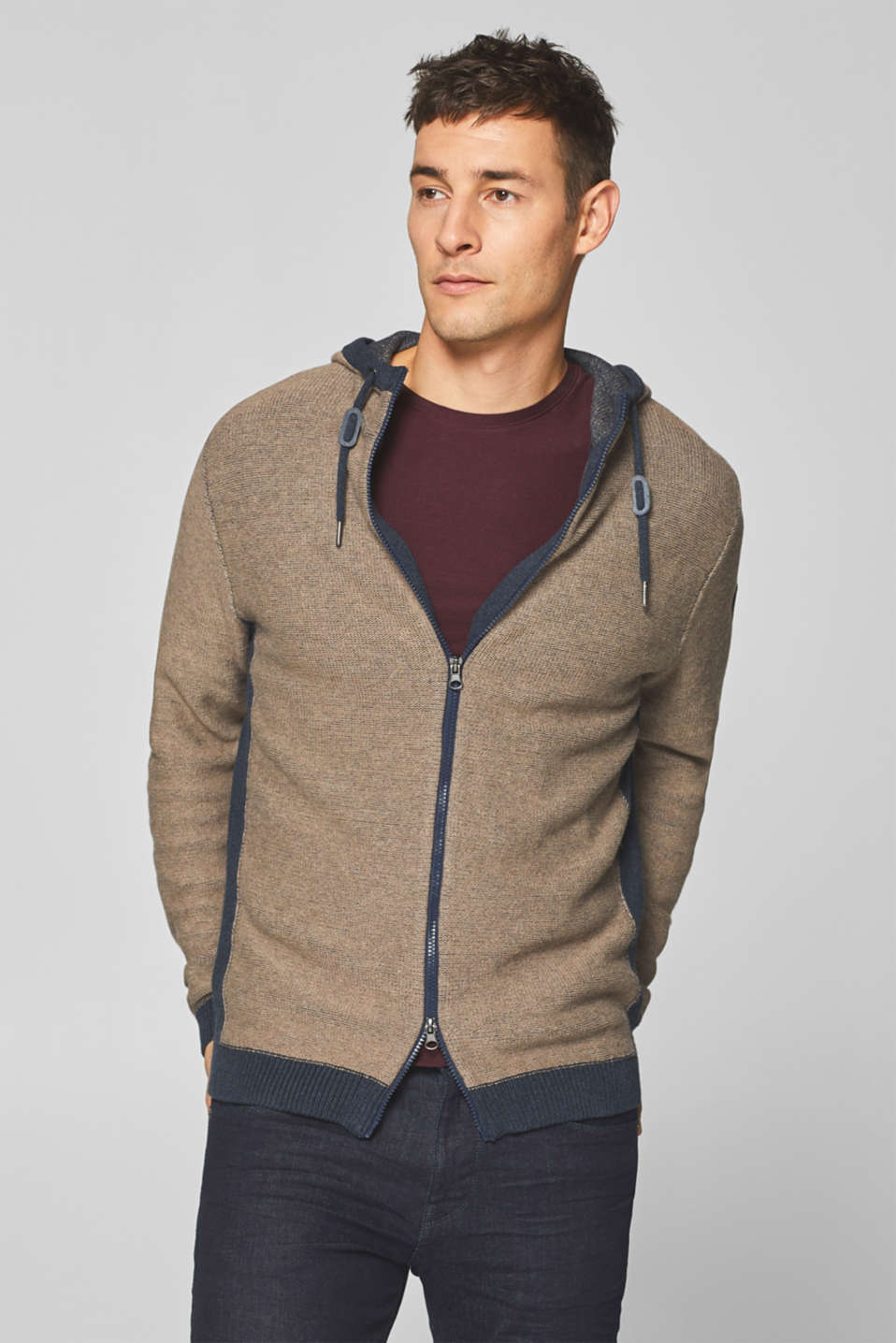 Esprit - With wool: knitted hoodie