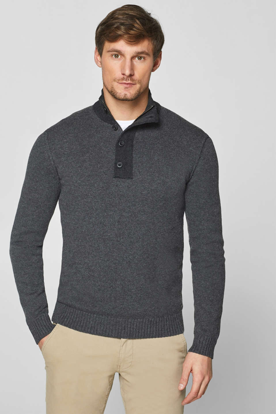 Esprit - Wool blend: Melange jumper with stand-up collar