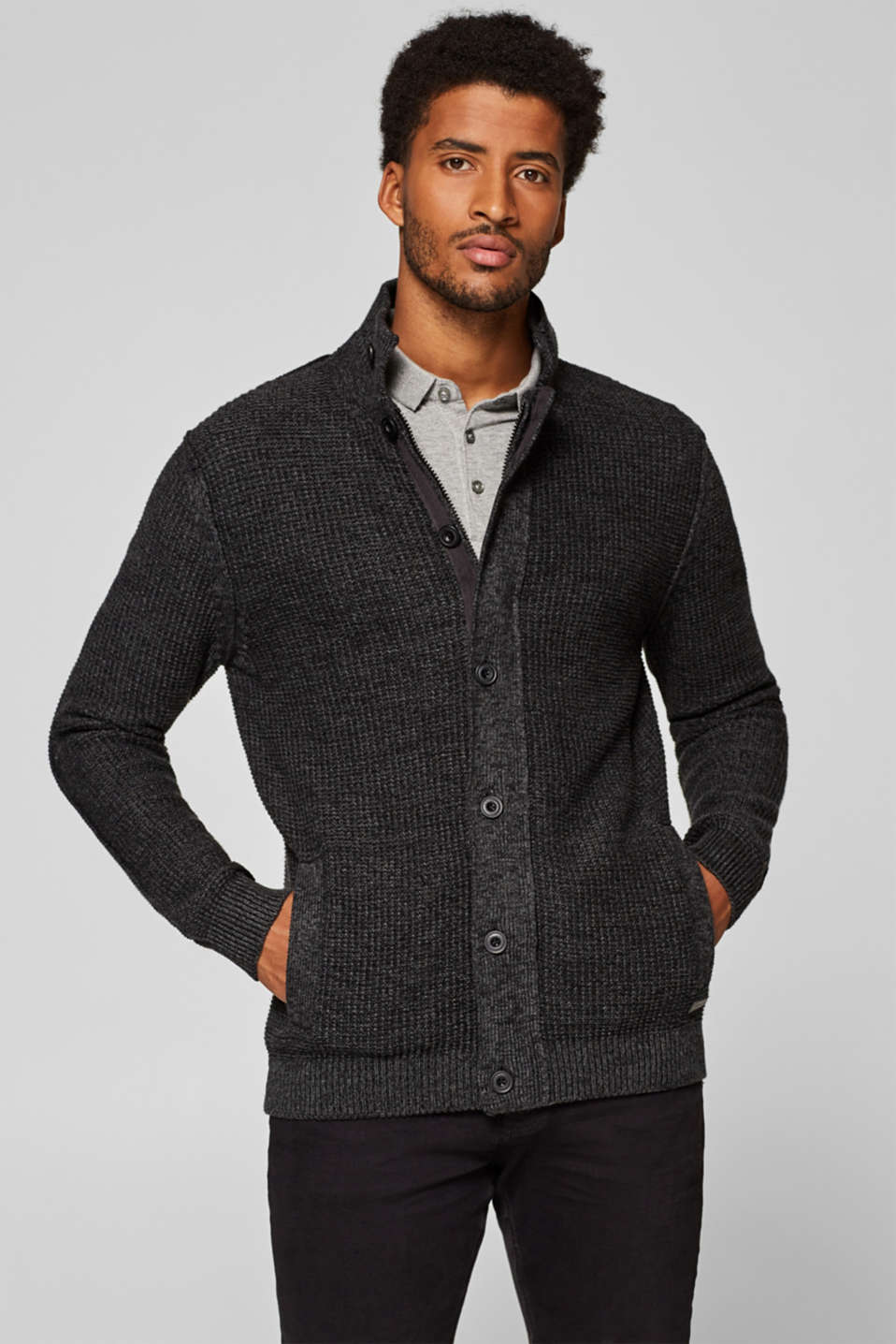 Esprit - Cardigan with a stand-up collar, 100% cotton
