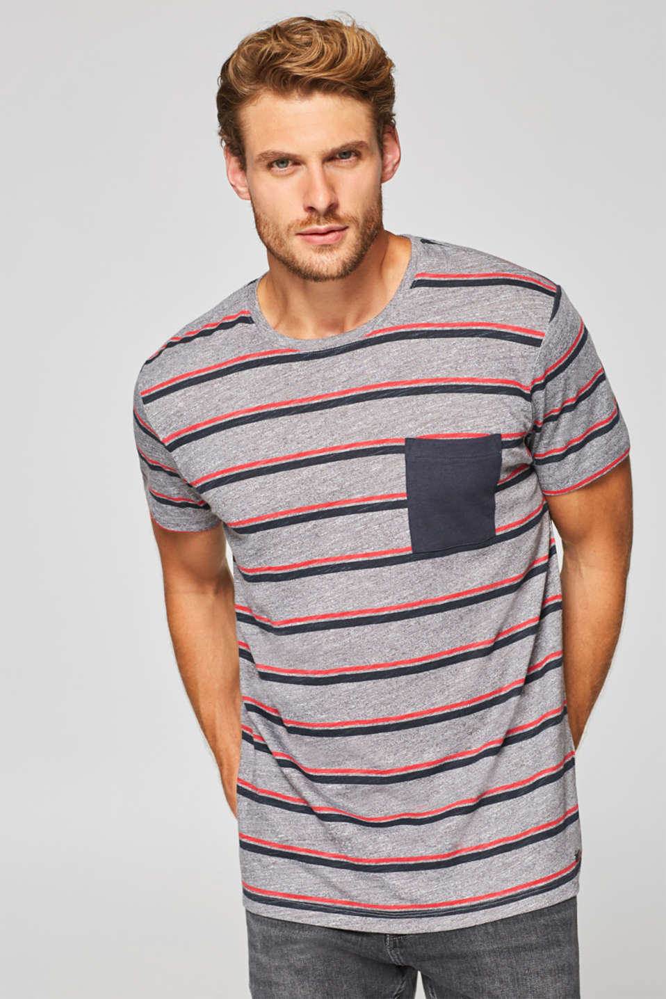 Esprit - Striped T-shirt in slub jersey