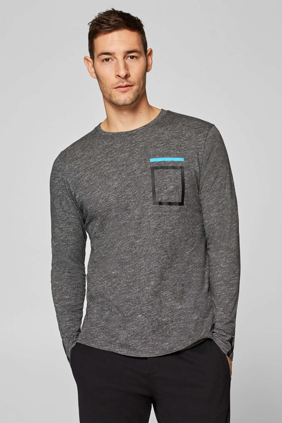 Esprit - Melange long sleeve blended cotton top