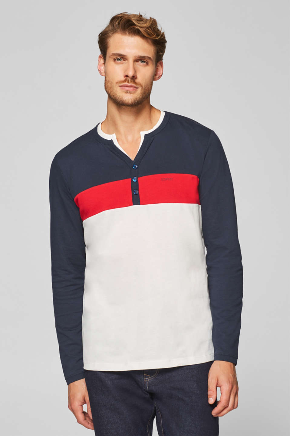 Esprit - Piqué long sleeve top with colour block elements