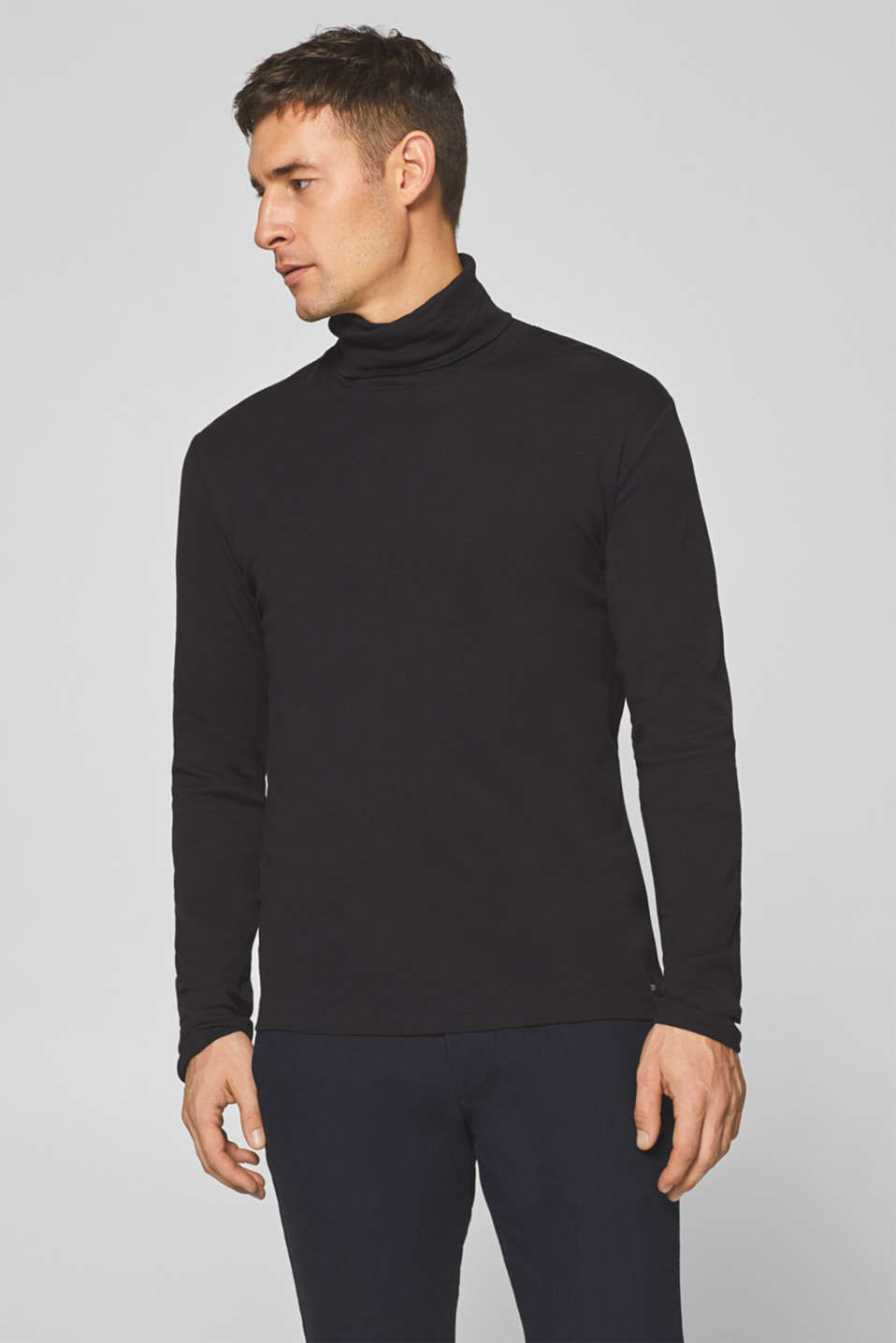 Esprit - Slub jersey long sleeve top with a polo neck