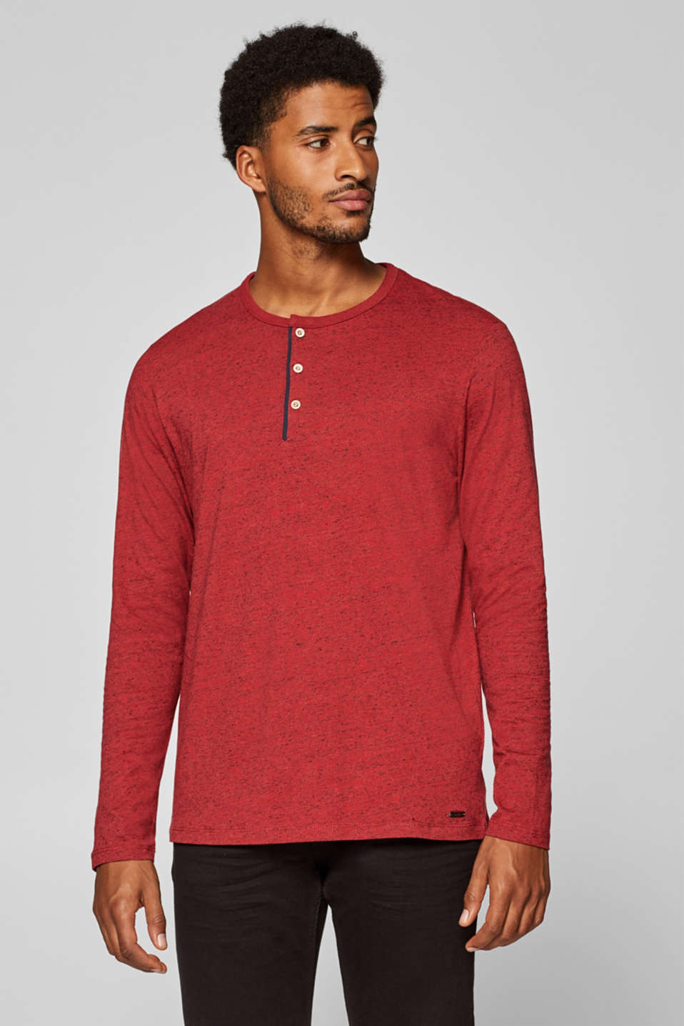 Esprit - Henley long sleeve top in jersey, 100% cotton