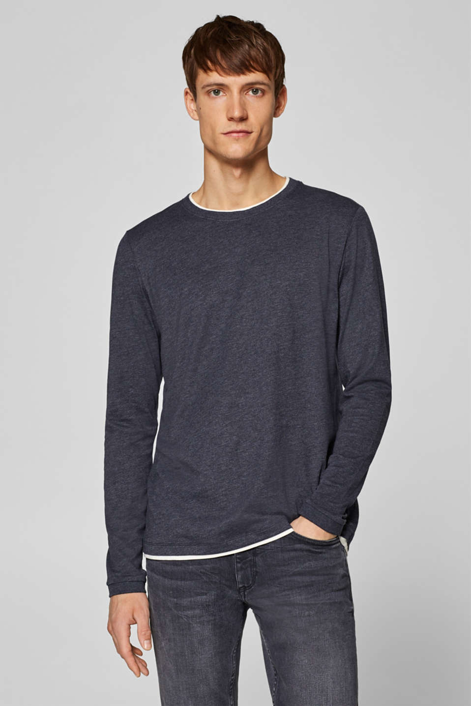 Esprit - Layered long sleeve top in melange jersey