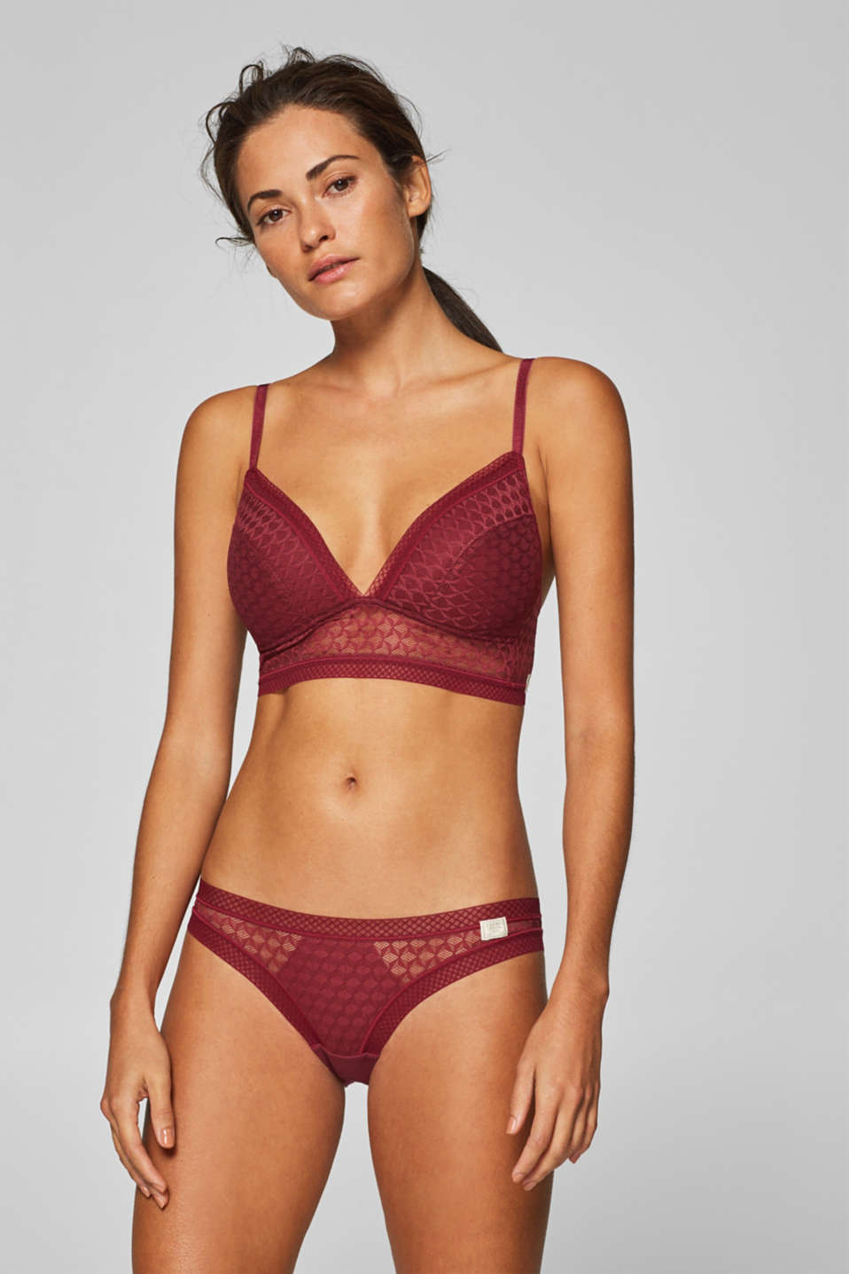 Esprit - Padded, wireless bra made of geometric mesh
