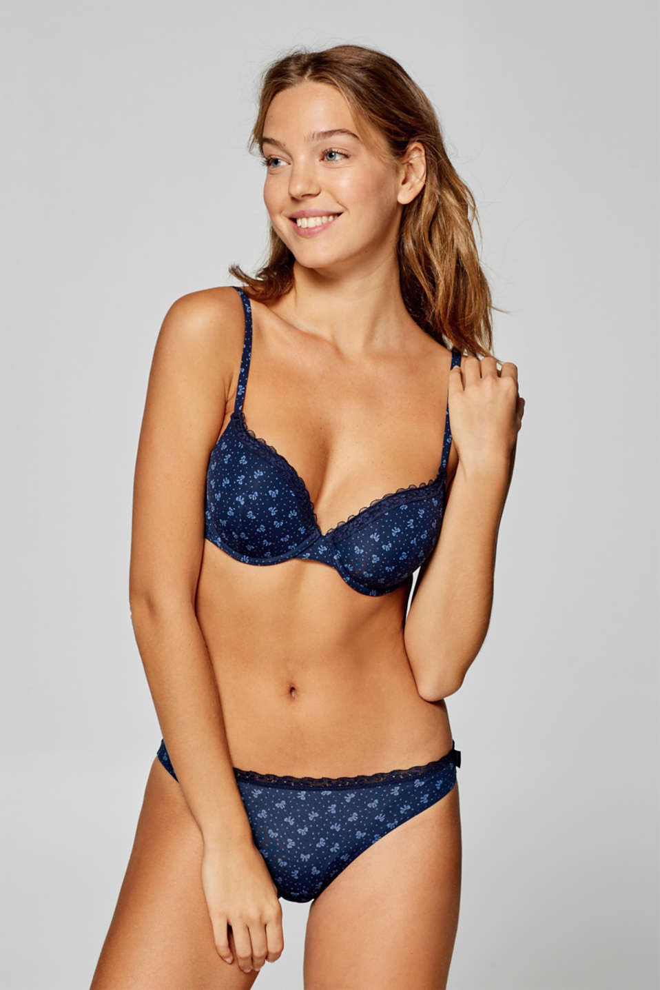 Esprit - Padded underwire bra with bow print