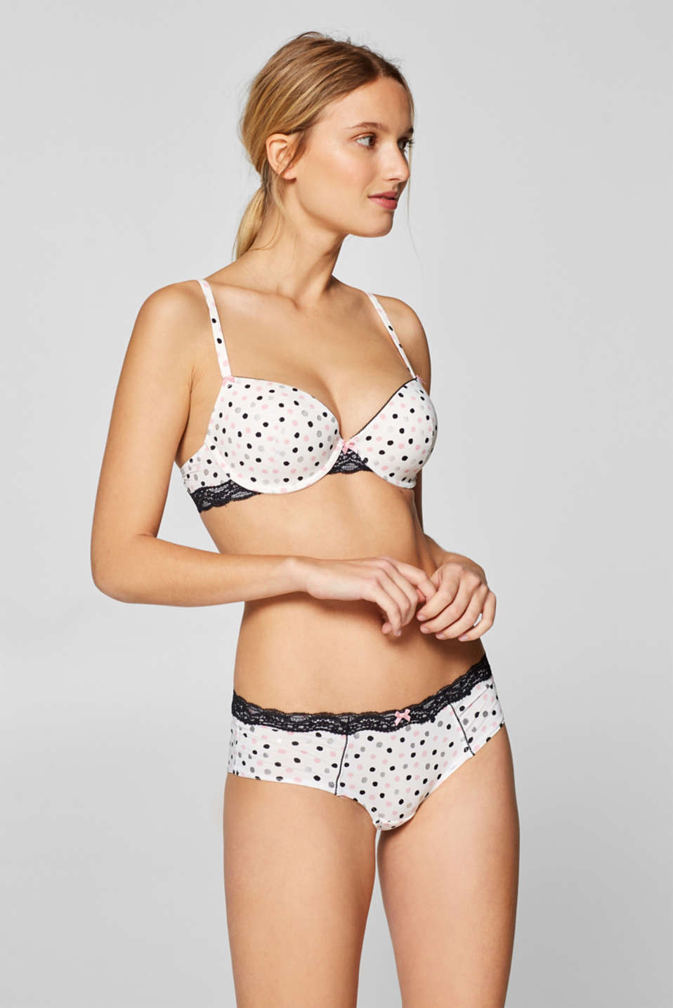 Esprit - Padded underwire bra with polka dots and lace