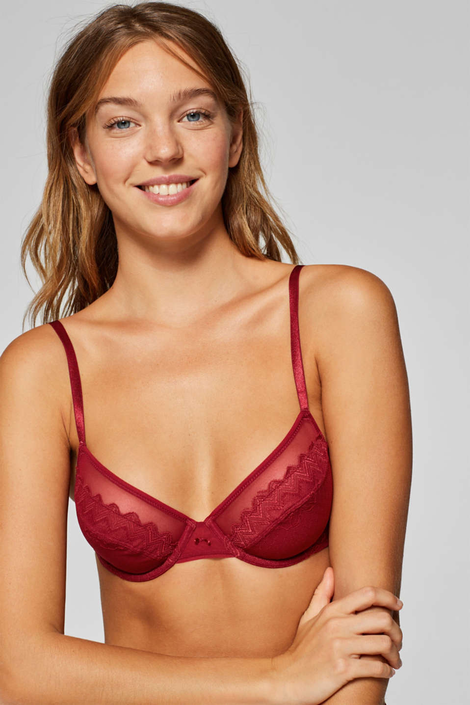 Esprit - Non-padded underwire bra with combined lace