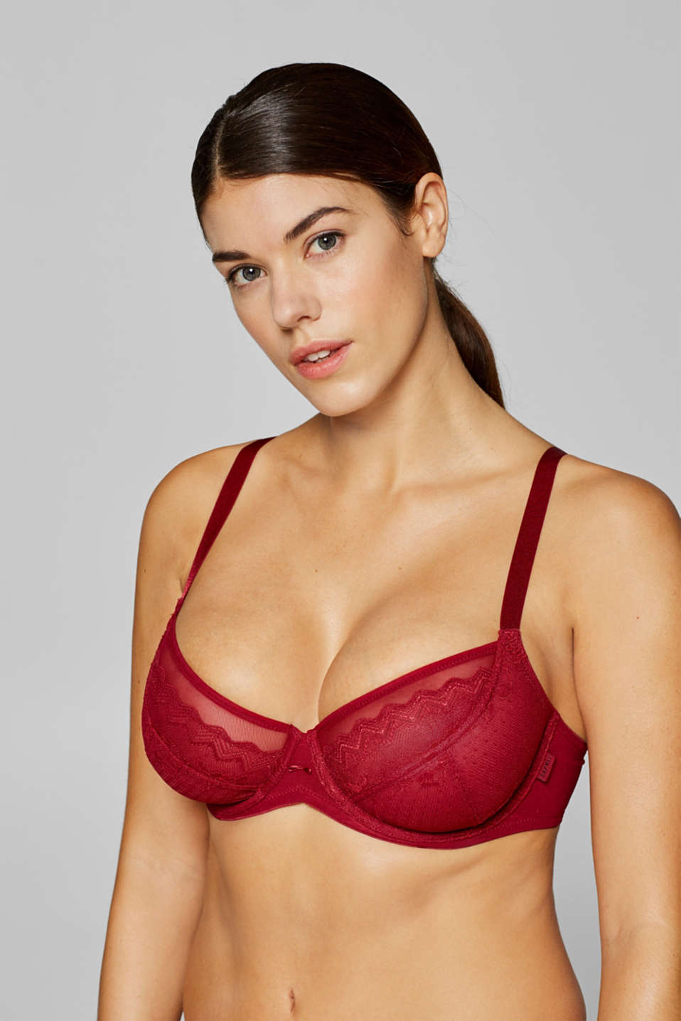 Esprit - Unpadded underwire lace bra for large cup sizes