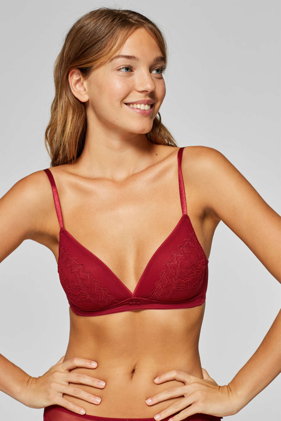 Esprit - Padded wireless bra in a combination of lace