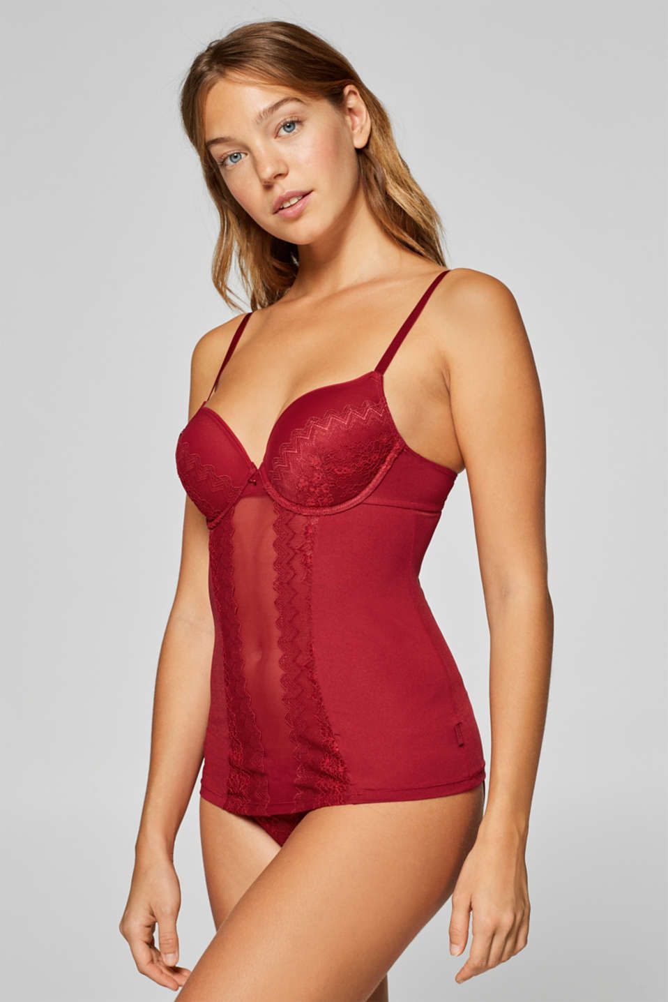 Esprit - Camisole with lace padded underwire cups