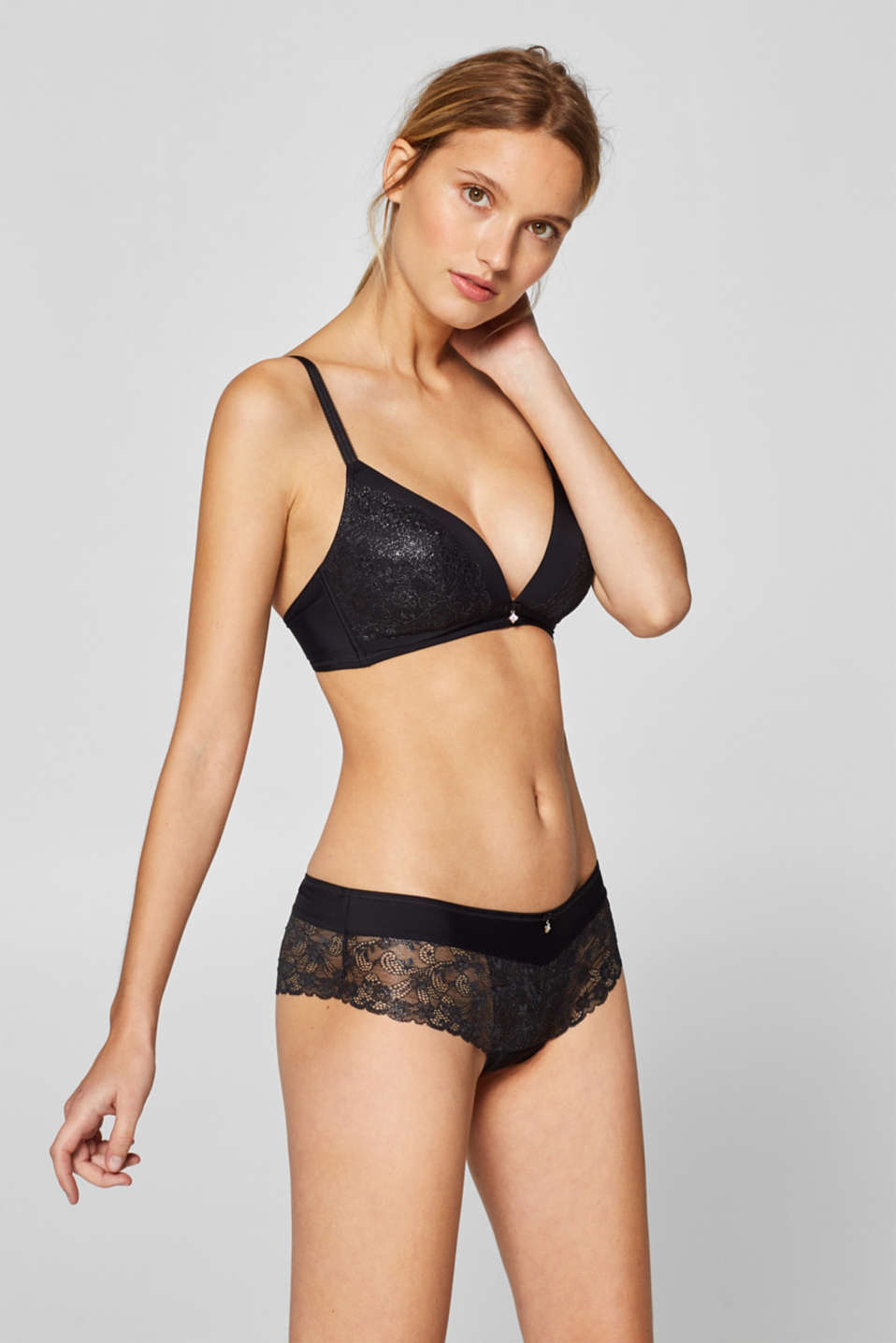 Esprit - Padded, wireless bra with glittering lace