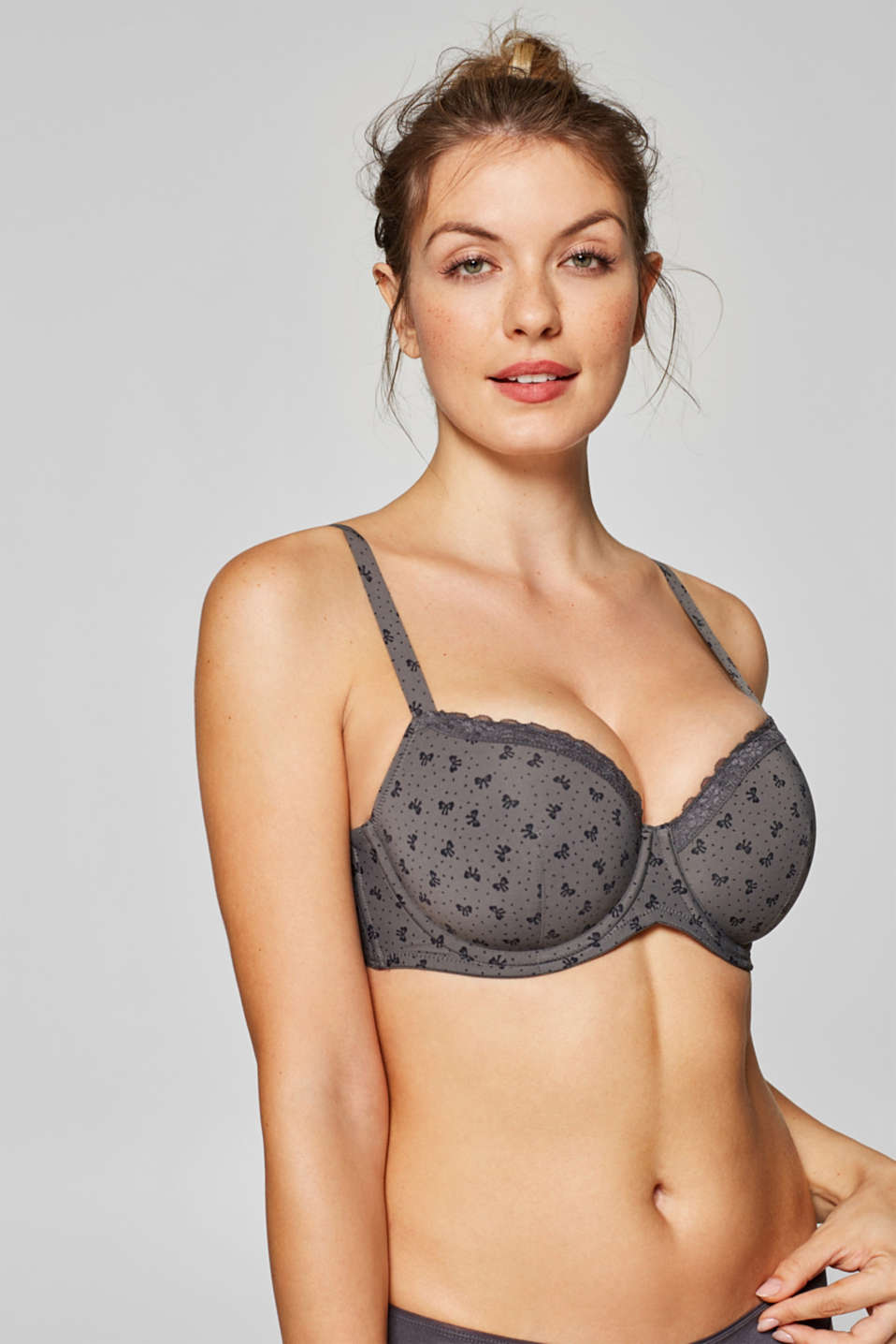 Esprit - Padded underwire bra with a bow print