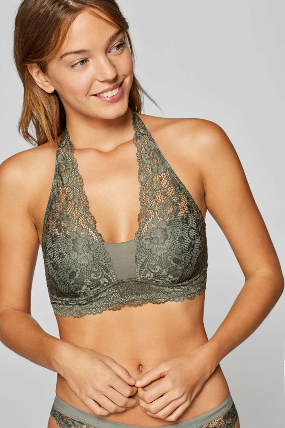Esprit - Padded, wireless bandeau bra in lace