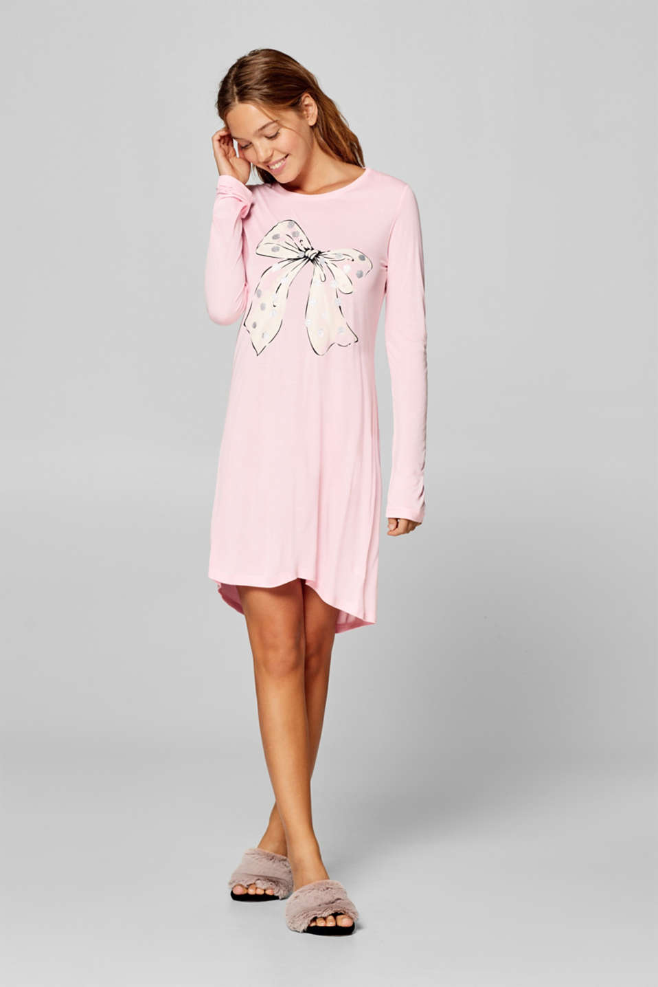 Esprit - Jersey nightshirt with a glittering print